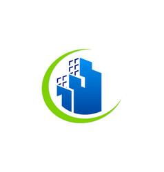 Modern building cityscape company logo vector