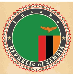 Vintage label cards of Zambia flag vector image vector image