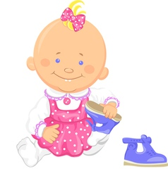 baby girl learns to put on ones shoes vector image