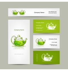 Business cards design green trea sketch vector image vector image