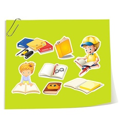 Children and books vector image vector image
