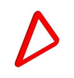 Red triangular blank road sign icon vector image vector image