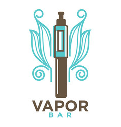 vapor bar logo design isolated on white vape e vector image