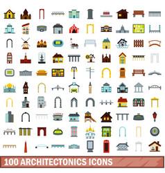 100 architectonics icons set flat style vector image