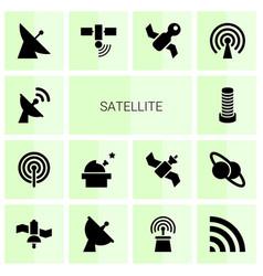 14 satellite icons vector image