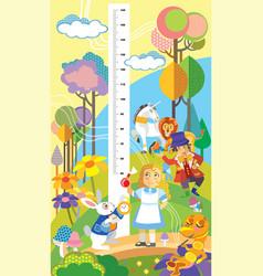 Alice in wonderland height meter vector