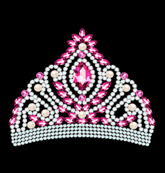 beautiful diadem crown tiara female with pearls vector image