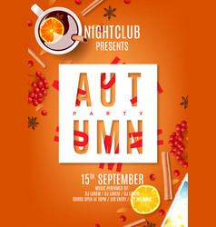 beautiful orange flyer for autumn party vector image