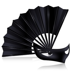 black fan and dark mask vector image