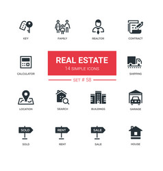business concept real estate - line design icons vector image