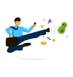Businessman fighting virus bacteria and germ on vector