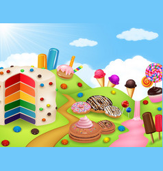 Candy land with rainbow cake vector