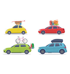 cars with luggage road trip vehicle with vector image