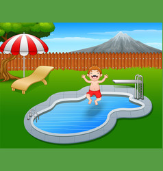 Cartoon boy jumping in swimming pool vector