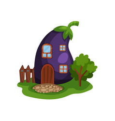 cartoon with fairy house in form of vector image