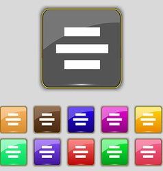 Center alignment icon sign Set with eleven colored vector