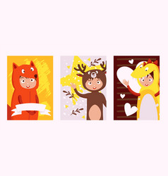 children in costumes animals set banners vector image