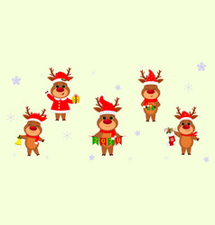 christmas and new year 2020 a set five cute vector image