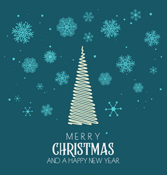 christmas background with tree and snowflake vector image