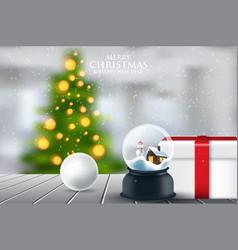 christmas snowglobe on wood table on snowfalls vector image