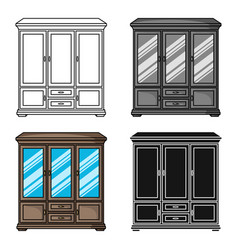 Classical cupboard icon in cartoon style isolated vector