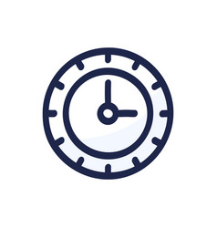 clock doodle line black icon watch dial isolated vector image