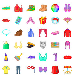 Clothes icons set cartoon style vector