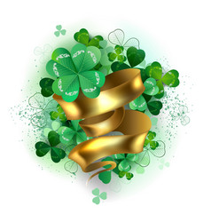 clover with gold ribbon vector image