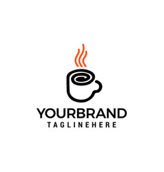 coffee glass line logo design concept template vector image