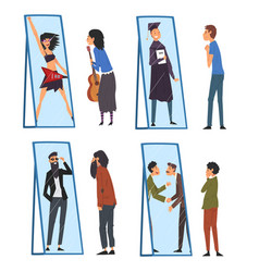 Collection people standing in front mirror vector
