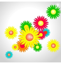 colorful shiny flowers vector image
