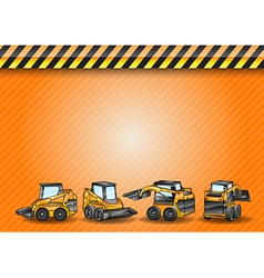 Construction four minicar orange vector