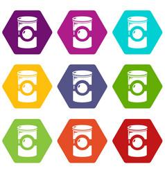 cosmetic jar plastic icons set 9 vector image
