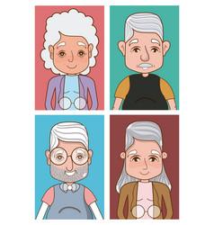 Cute grandparents cartoons vector