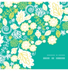 Emerald flowerals frame corner pattern vector