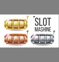 empty slot machine set golden silver vector image