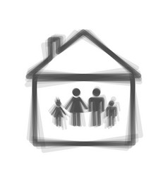 Family sign gray icon shaked vector