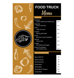 Food truck menu vertical on gold and black color vector