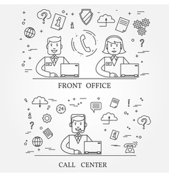 Front office and call center concept icon thin lin vector