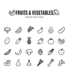Fruit and vegetables icon set vegan natural bio vector