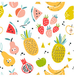 fruit seamless pattern in flat hand drawn style vector image