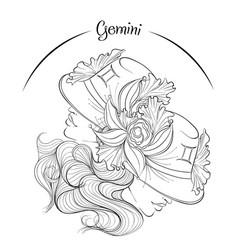 Gemini as a girl in hat vector