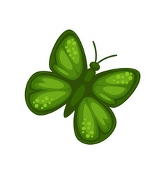 green butterfly isolated insect wings and antenna vector image