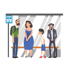 group people waiting for public transportation vector image