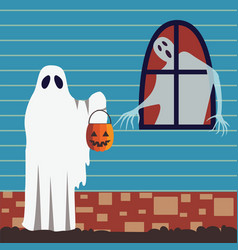 halloween card with trick or treat scene vector image