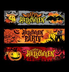 halloween horizontal grunge banners vector image