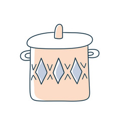 hand drawn pan doodle stock icon in flat style vector image