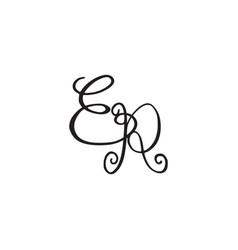 Handwritten monogram er icon vector