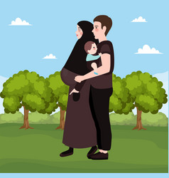 happy couple outdoor beautiful pregnant woman vector image