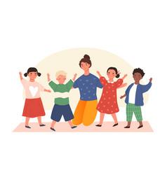 happy young kindergarten kids with a teacher vector image